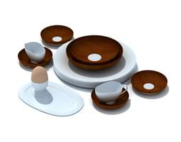 3D model White And Brown Plastic Dinnerware