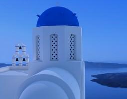 3d model santorini white church