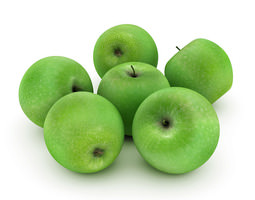 3D Green apples