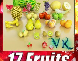 17 fruits collection high res textures 3d model