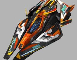 scifi racing-ship 02 game-ready 3d asset