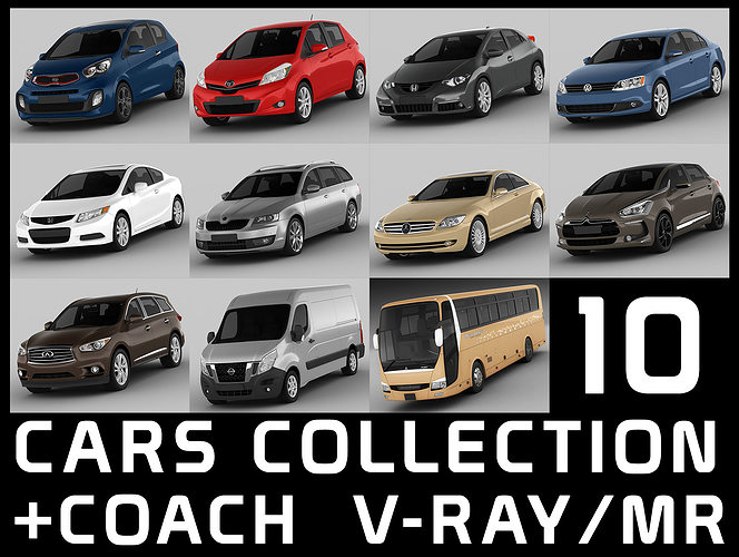 3d Model 10 Cars Collection Coach Cgtrader