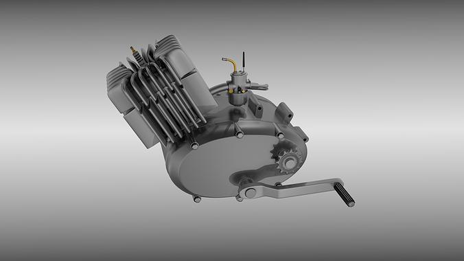 Two Stroke Moped Engine 3d Model Obj Mtl Fbx Blend 1