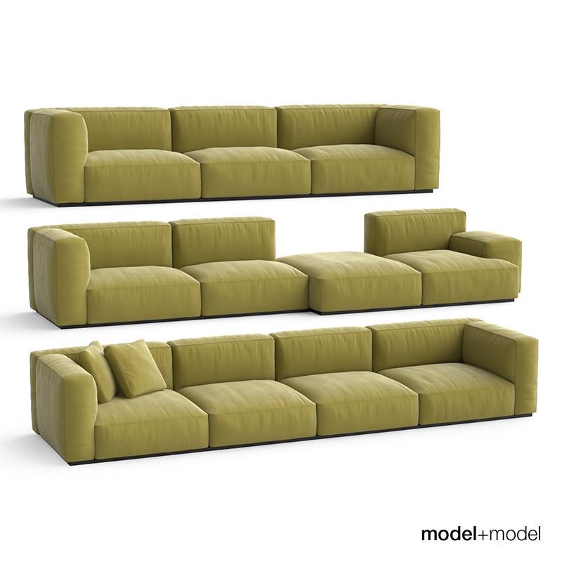 Cassina MexCube Sofas 3D Model MAX OBJ FBX MAT