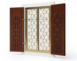 3d brown wood and gold metal house window shutters