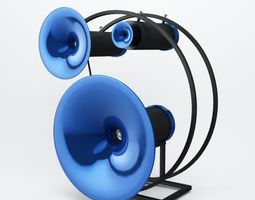blue modern electronic speakers 3d