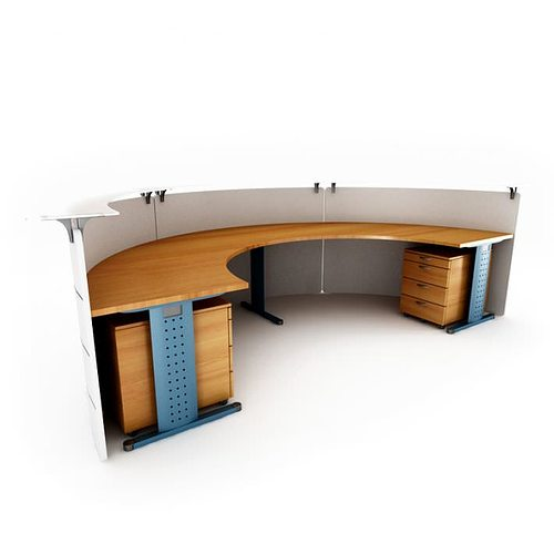 Receptionist Desk With Curved Wood 3d Model