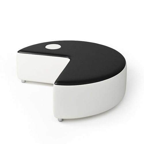 White And Black Pacman Sofa With Wheels 3D Model