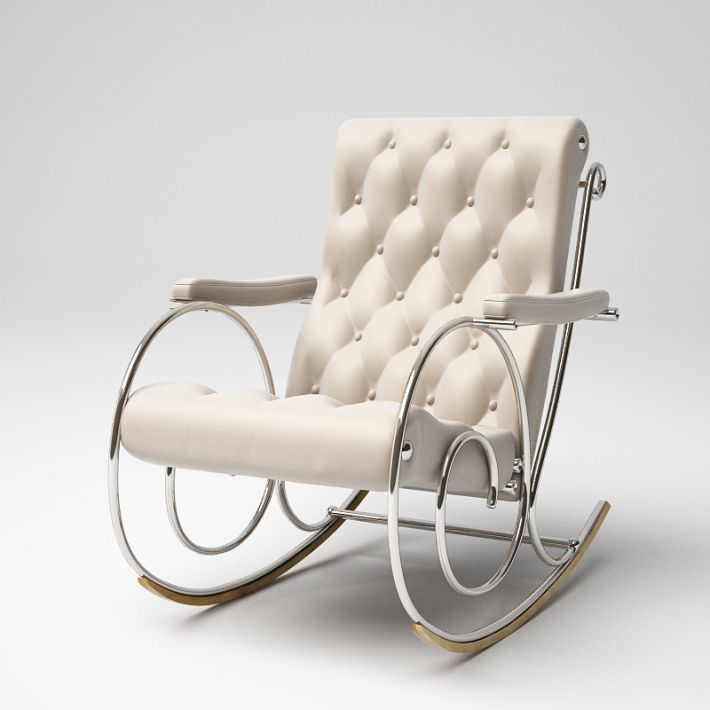 3D model White Rocking Chair With Metal Frame | CGTrader