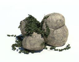 Granite Rock With Green Vines 3D