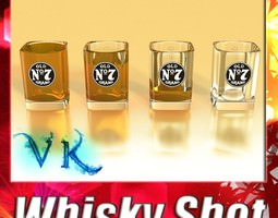 high detailed jack daniels whisky shot glass 3d model