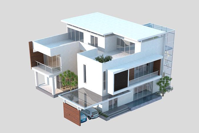 ... 3d Models Luxury Contemporary House 3d Model Max Obj Mtl Fbx C4d Tga 3  ...