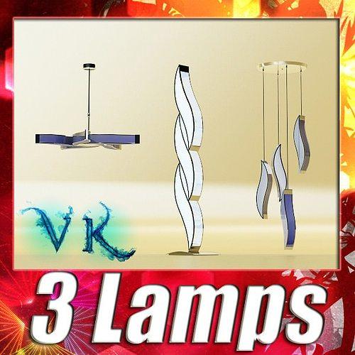3 pendant lamps collection 3d model max obj mtl 3ds fbx 1