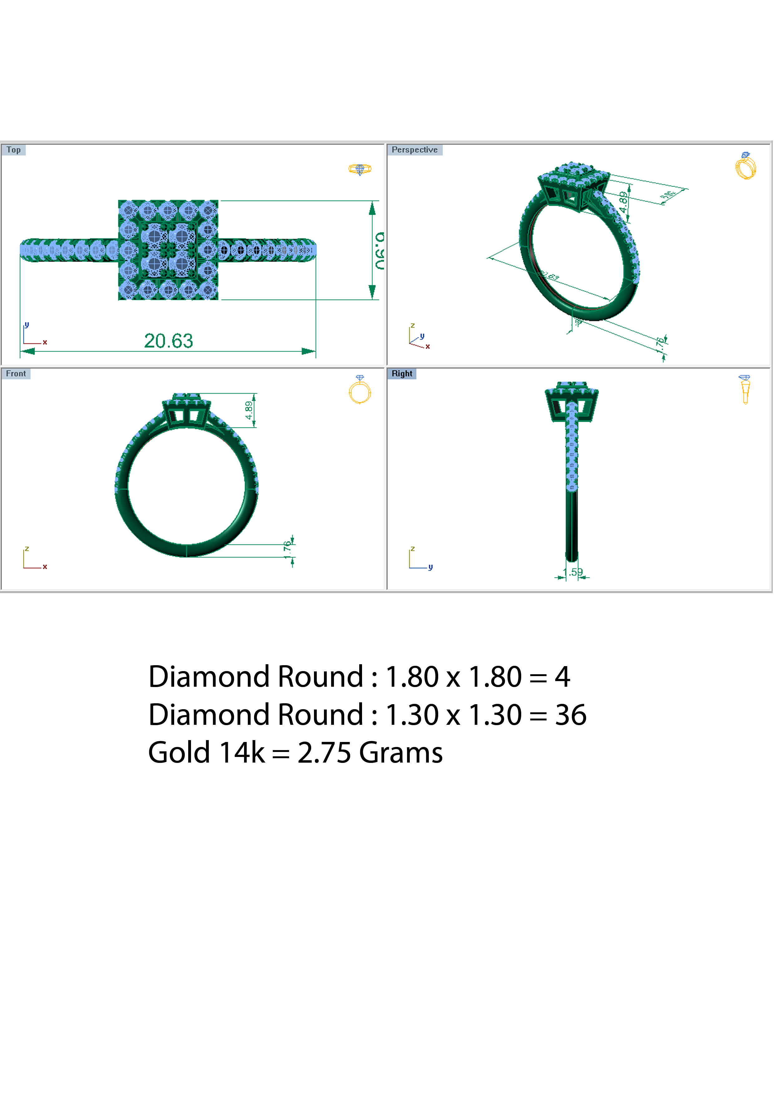 four sizes ring diamond jewelry stl for models model files with size pearl rings production print