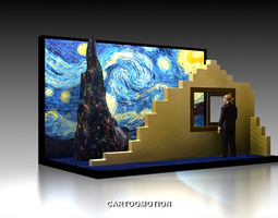 3d print model the starry night by vincent van gogh 1889