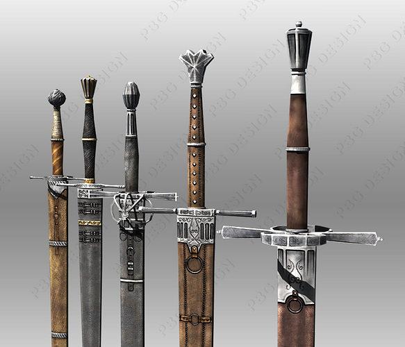 3d Asset Bastard Swords Cgtrader