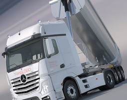 mercedes actros mp4 gigaspace with aluminium dumper trailer 3d