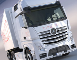 3d mercedes actros mp4 gigaspace with refrigerated semitrailer