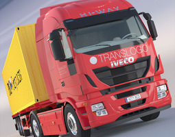 New IVECO Stralis Hi-Way with 40ft containers 3D Model