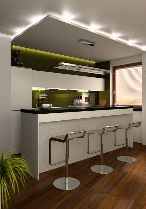 Green Clean Kitchen With A Bar Table Plant And Chairs Scene A... 3D ...