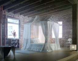 3d epic bedroom romantic fantasy with silk curtains and brick walls archinterior...