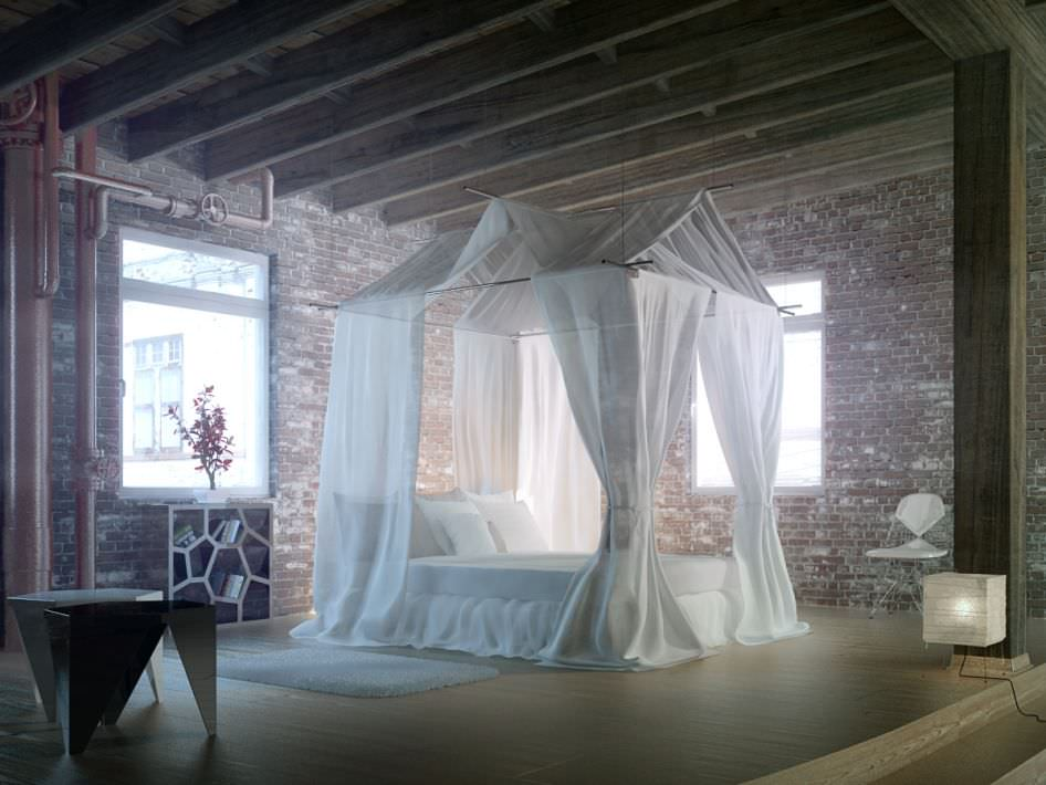 epic bedroom romantic fantasy with silk cu 3d model