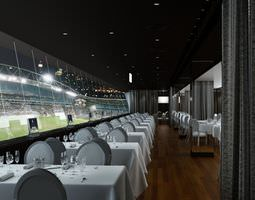 3d luxurious vip restaurant with a view to football stadium archinteriors vol 17