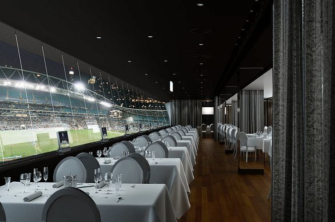 Luxurious Vip Restaurant With A View To Football Stadium