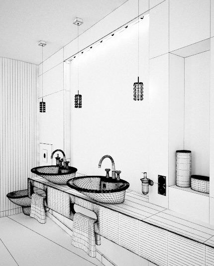 Marble Bathroom With Mirrors And Orange Details ...