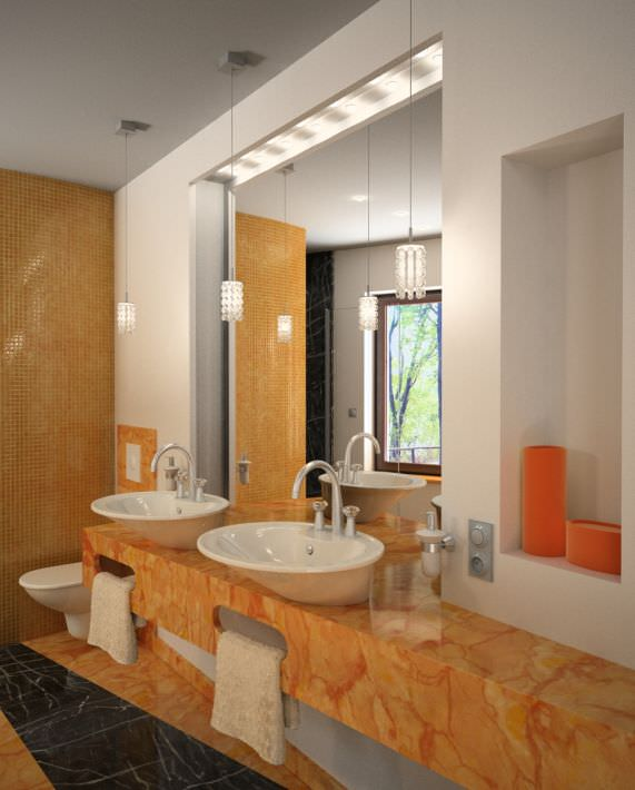 ... marble bathroom with mirrors and orange details archinteriors... 3d model max 2 & Marble Bathroom With Mirrors And Orange Details Archinteriors... 3D ...
