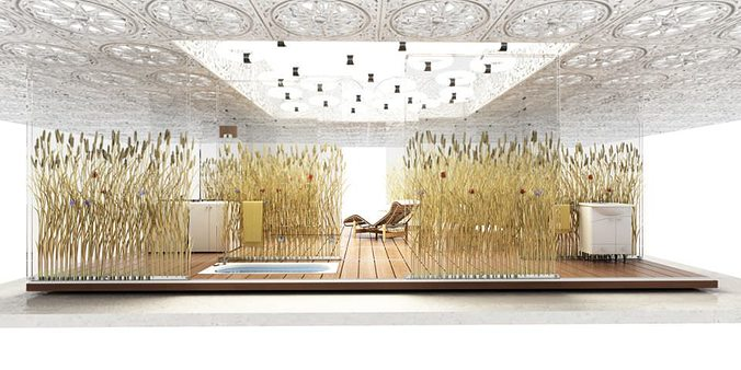 epic bathroom with outdoor bath grain and plant decoration an... 3d model max 1