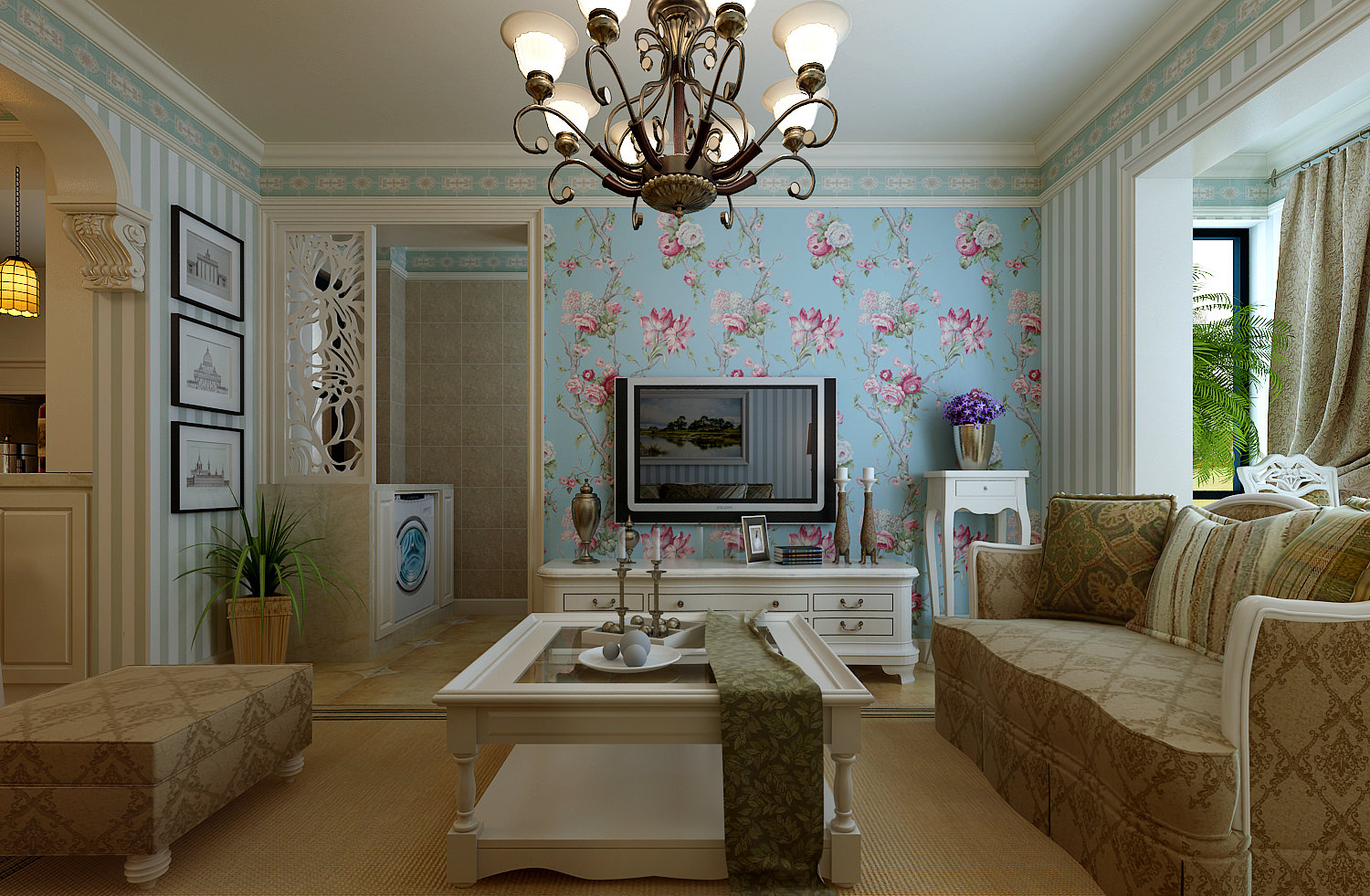 Dining And Living Room Decorated With Flowers And Set Up With 3d Model Max