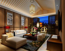 modern comfortable fully decorated living room with a terrace 3d