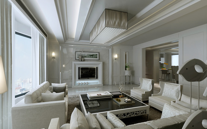 Modern Bright Living Room With White Furniture And