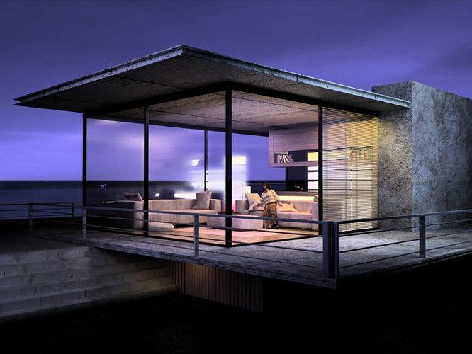 Modern house scene 3d model c4d for Modern house 3d model