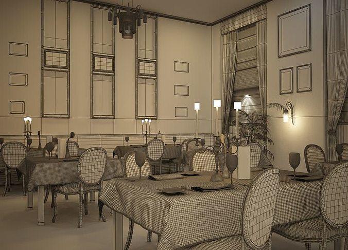 restaurant interior 3d model max 1
