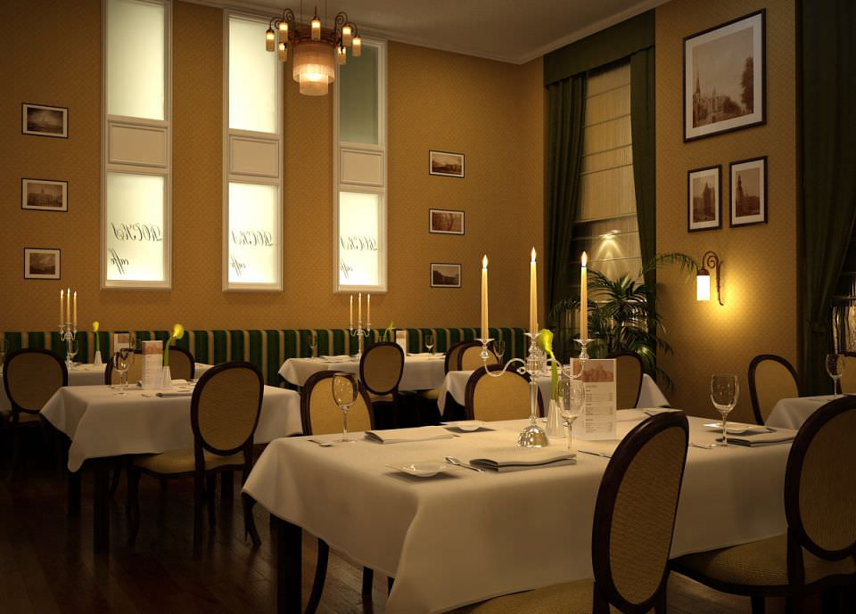 Restaurant interior d model cgtrader