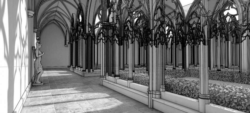 Antique Gothic Courtyard