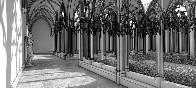 antique gothic courtyard 3d model max 1