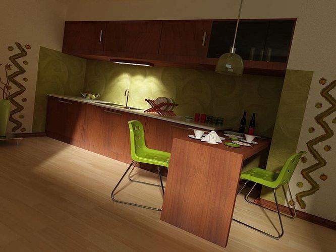 kitchen minimalistic interior 3d model max 1
