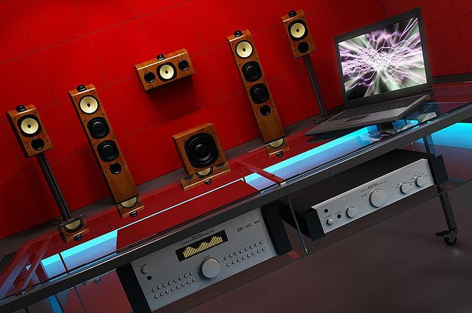 speakers audio system 3d model max 1