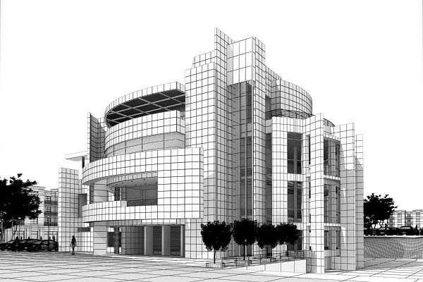 modern office building exterior 3d model max 1