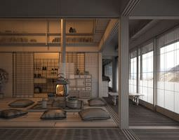 Oriental Style Interior Room Interior 3D model