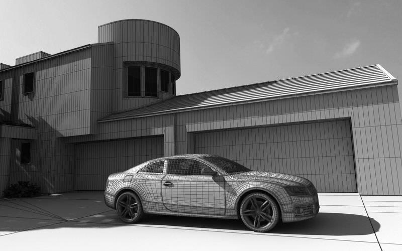 Yard garage and a car audi 3d model max for Garage audi 92 nanterre