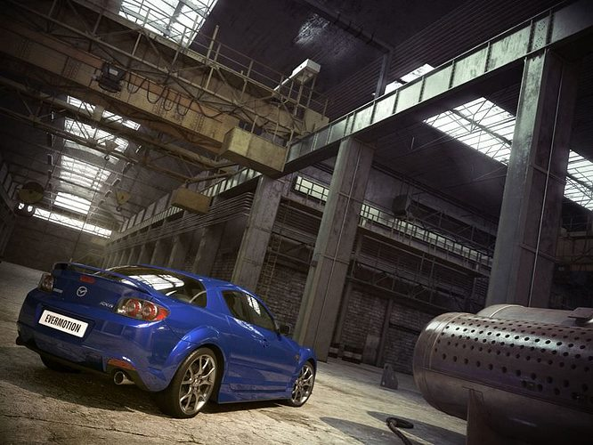 industrial interior with a car mazda 3d model max 1