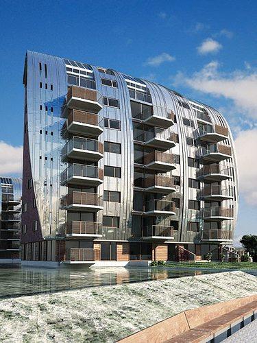 3d Exterior House Designs: Modern Block House Apartments 3D Model
