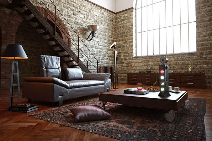 3D Old Bricks Interior Living Room | CGTrader
