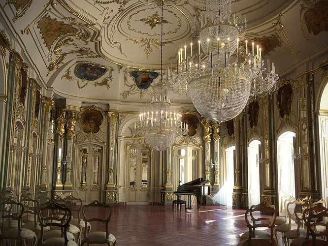 baroque hall with piano and chairs 3d model max fbx 1