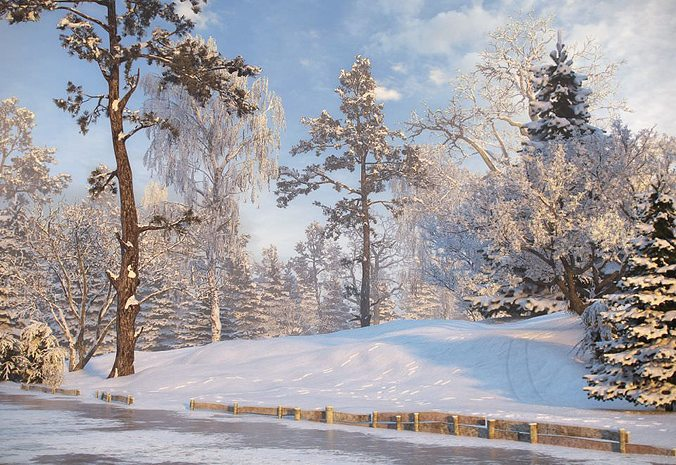 winter trees collection 3d model max fbx c4d 1