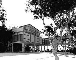 Modern House With A Yard 3D